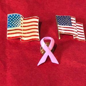 Bundle three pins USA flag pink ribbon pins lapel